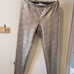 Pants - Gold Textured Leggings